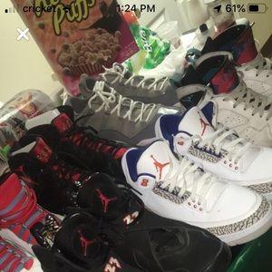 Retro Jordan's sizes 10.5-12 $550 for the lot.